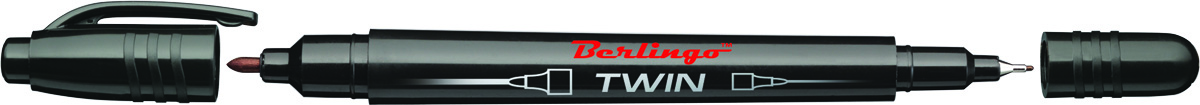 Berlingo Маркер перманентный двухсторонний цвет черный0102016Перманентный двухсторонний маркер Berlingo предназначен для письма на любой поверхности. Заправлен водостойкими чернилами на спиртовой основе, которые после нанесения быстро высыхают, не стираются и не растекаются. Толщина линии варьируется от 0,5 до 1 мм. Цвет чернил - черный.