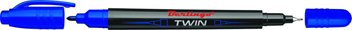 Berlingo Маркер перманентный двухсторонний цвет синий72523WDПерманентный двухсторонний маркер Berlingo предназначен для письма на любой поверхности. Заправлен водостойкими чернилами на спиртовой основе, которые после нанесения быстро высыхают, не стираются и не растекаются. Толщина линии варьируется от 0,5 до 1 мм. Цвет чернил - синий.