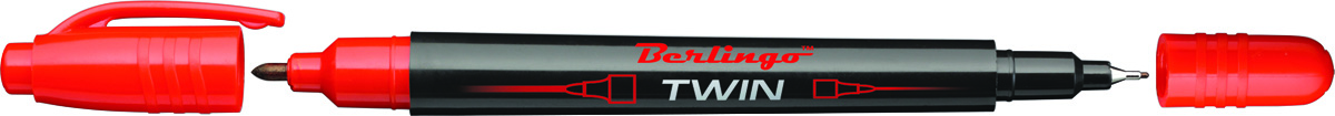 Berlingo Маркер перманентный двухсторонний цвет красный72523WDПерманентный двухсторонний маркер Berlingo предназначен для письма на любой поверхности. Заправлен водостойкими чернилами на спиртовой основе, которые после нанесения быстро высыхают, не стираются и не растекаются. Толщина линии варьируется от 0,5 до 1 мм. Цвет чернил - красный.