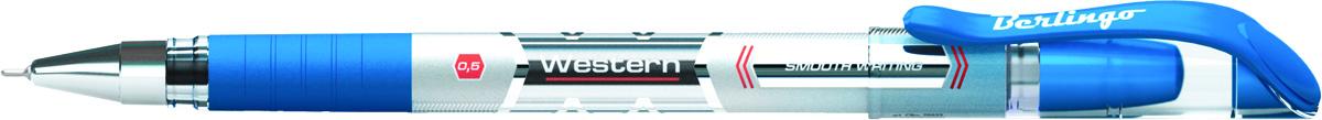 Berlingo Ручка шариковая Western цвет синийCPs_82601Шариковая ручка Berlingo Western с непрозрачным корпусом и пластиковым клипом. Мягкий резиновый грип препятствует скольжению пальцев и обеспечивает комфортное письмо. Диаметр пишущего узла - 0,5 мм. Чернила пониженной вязкости обеспечивают мягкое письмо.