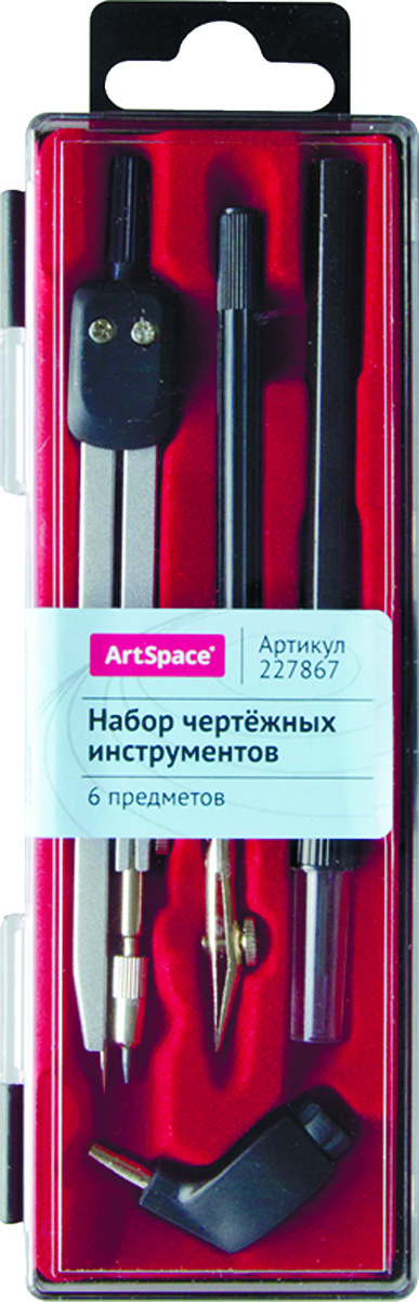 ArtSpace Готовальня 6 предметов72523WDГотовальня ArtSpace в пластиковом пенале. Набор состоит из 6 предметов: циркуль, насадка с универсальным держателем, держатель рейсфедерной вставки, рейсфедерная вставка, карандаш и запасной грифель. Длина циркуля - 135 мм. Товар предназначен для чертежно-графических работ.