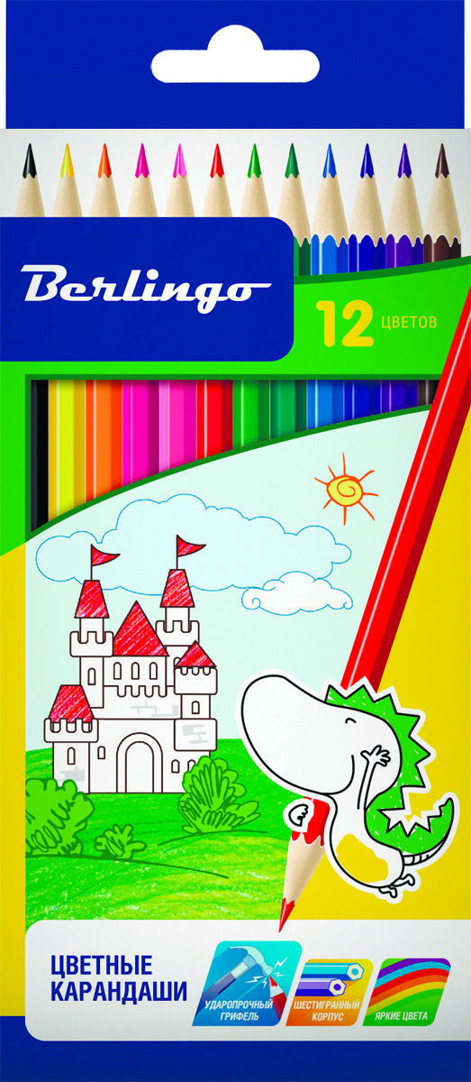 Berlingo Набор цветных карандашей Замки 12 цветовFS-36054Набор цветных карандашей Berlingo Замки с заточенным грифелем.Карандаши имеют яркие насыщенные цвета. Штрихи мягко ложатся на бумагу. Карандаши легко затачиваются.