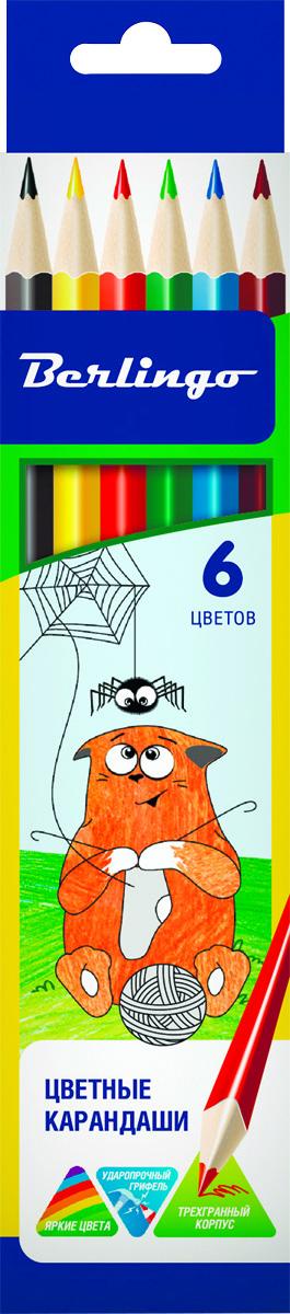 Berlingo Набор цветных карандашей Жил-был кот 6 цветовCP00506Набор цветных карандашей Berlingo Замки с эргономичной трехгранной формой корпуса. Карандаши с заточенным грифелем. Яркие, насыщенные цвета. Мягкое письмо. Карандаши легко затачиваются. 6 цветных карандашей.