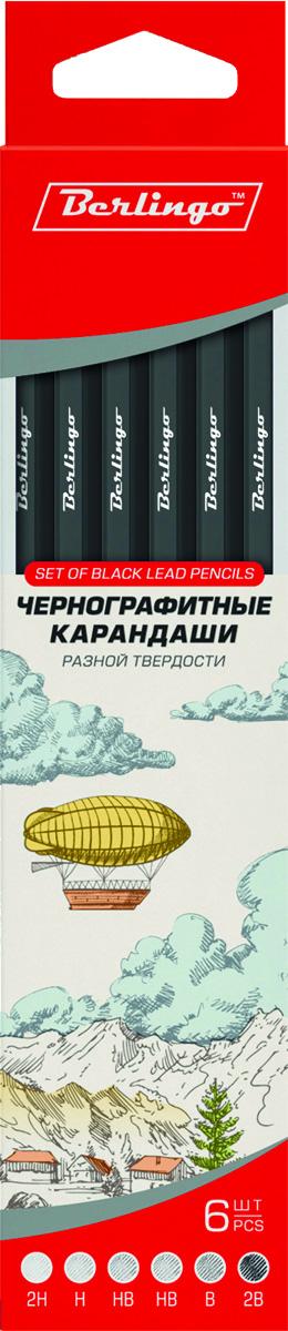 Berlingo Набор чернографитных карандашей 6 шт72523WDЧернографитные карандаши Berlingo прекрасно подойдут для выполнения художественных работ, графических зарисовок и чертежей. Эти карандаши отличаются высокой прочностью. Градация мягкости-твердости варьируется от 2B до 2H. В набор входят 6 карандашей, твердостью 2Н, Н, НВ, НВ, В, 2В.