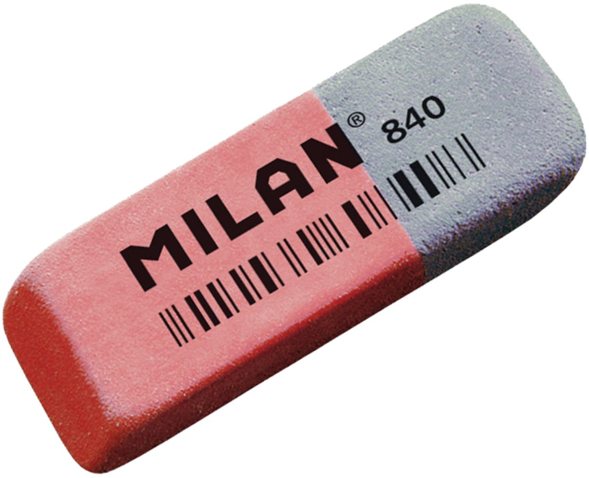 Milan Ластик 840 скошенный0703415Ластик Milan 840 - это классический ластик с добавлением двух видов абразивов. Позволяет удалять с бумаги чернила и стирать цветные карандаши.