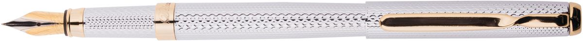 Delucci Ручка перьевая цвет корпуса серебристый золотистый72523WDПерьевая ручка Delucci создана для настоящих ценителей классики. Цвет корпуса серебристый, с рифлением. Отделка золотистого цвета. Оригинальный клип, изящная гравировка. Диаметр пишущего узла - 0,8 мм.