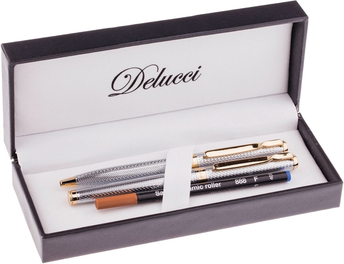 Набор ручек Delucci - это идеальный подарочный набор в подарок деловому человеку: шариковая ручка, диаметр пишущего узла - 1,0 мм и ручка-роллер, диаметр пишущего узла - 0,6 мм. Цвет корпуса - серебристый, с рифлением. Отделка - золотистого цвета. Изящная гравировка.
