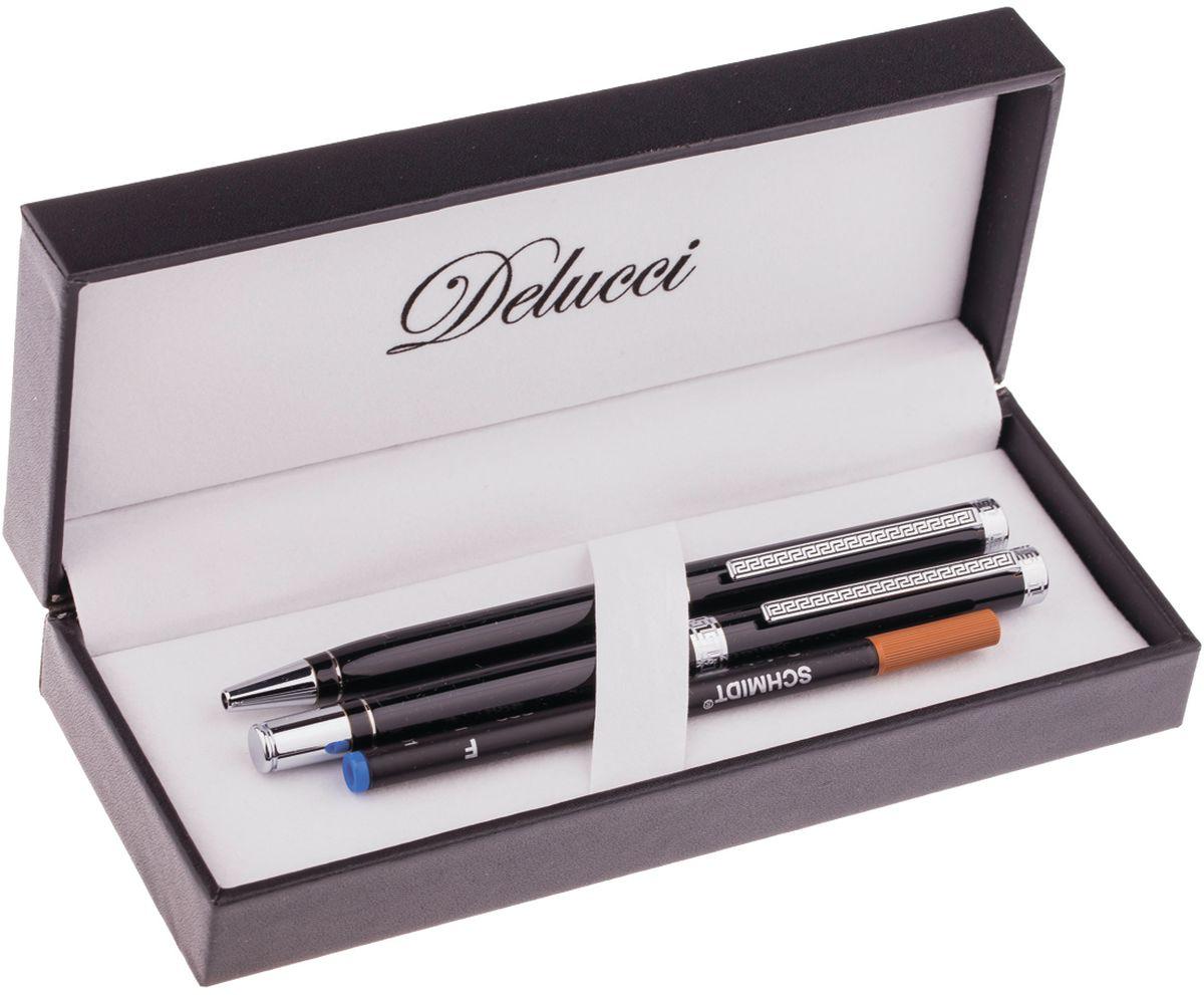 Delucci Набор ручек 2 шт CPn_12029WAT-1904598Набор подарочных ручек Delucci может стать отличным сувениром партнерам, сослуживцам и друзьям. Ручки удобно лежат в руке, не выскальзывают, пишут мягко. В набор входят шариковая ручка (диаметр пишущего узла - 1 мм) и ручка-роллер (диаметр пишущего узла - 0,6 мм). Корпусы ручек изготовлены из хромированного металла.