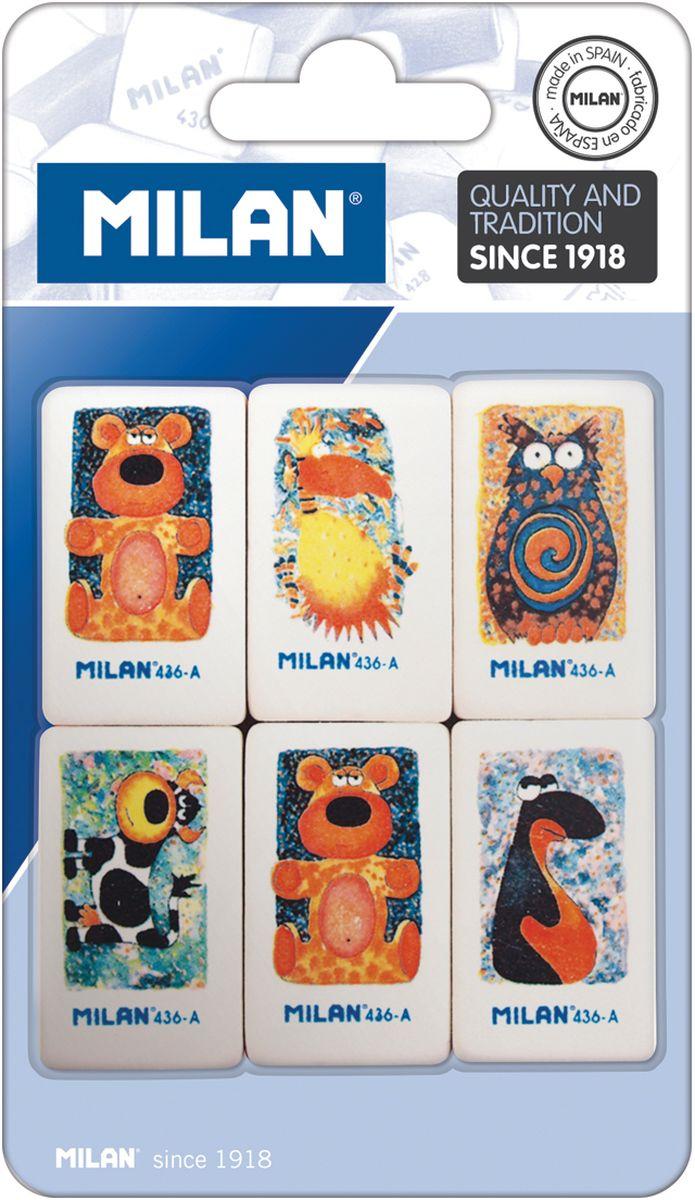 Milan Набор ластиков 436-А 6штCS-WP2501-1X30Набор ластиков Milan рекомендуется для мягких чернографитных карандашей. Ластики изготовлены из натурального каучука.