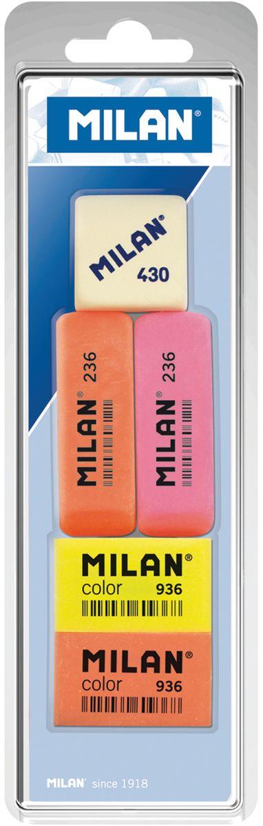 Milan Набор ластиков 236, Color 936 и 430 5шт160150Комплект синтетических ластиков Milan для работы с различными видами графитовых карандашей. Универсальные ластики 236 и 936 могут стирать цветные пигменты и чернила. Ластик 236 имеет скошенную форму с тонкими краями.