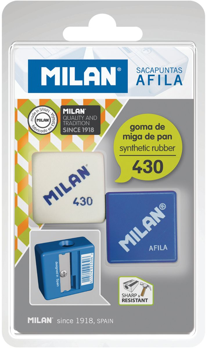 Milan Точилка Afila с ластикомPR_00116Ластик Milan 430 в комплекте с точилкой AFILA в блистерной упаковке.