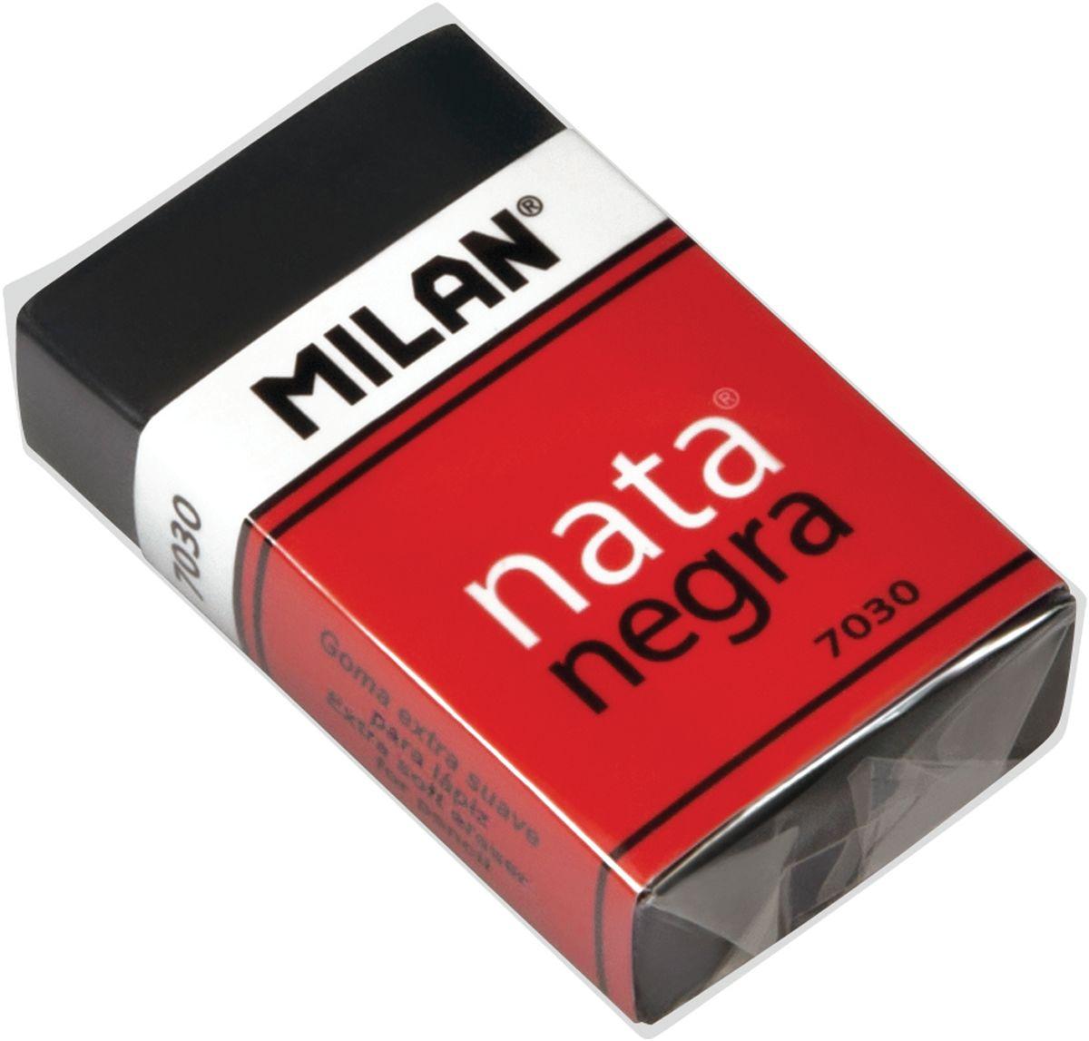 Milan Ластик Nata Negra 7030 прямоугольныйCPM7030CFЛастик Milan Nata Negra 7030 - это мягкий резиновый ластик черного цвета. Подходит для удаления штрихов от большинства графитовых карандашей на всех видах поверхностей.