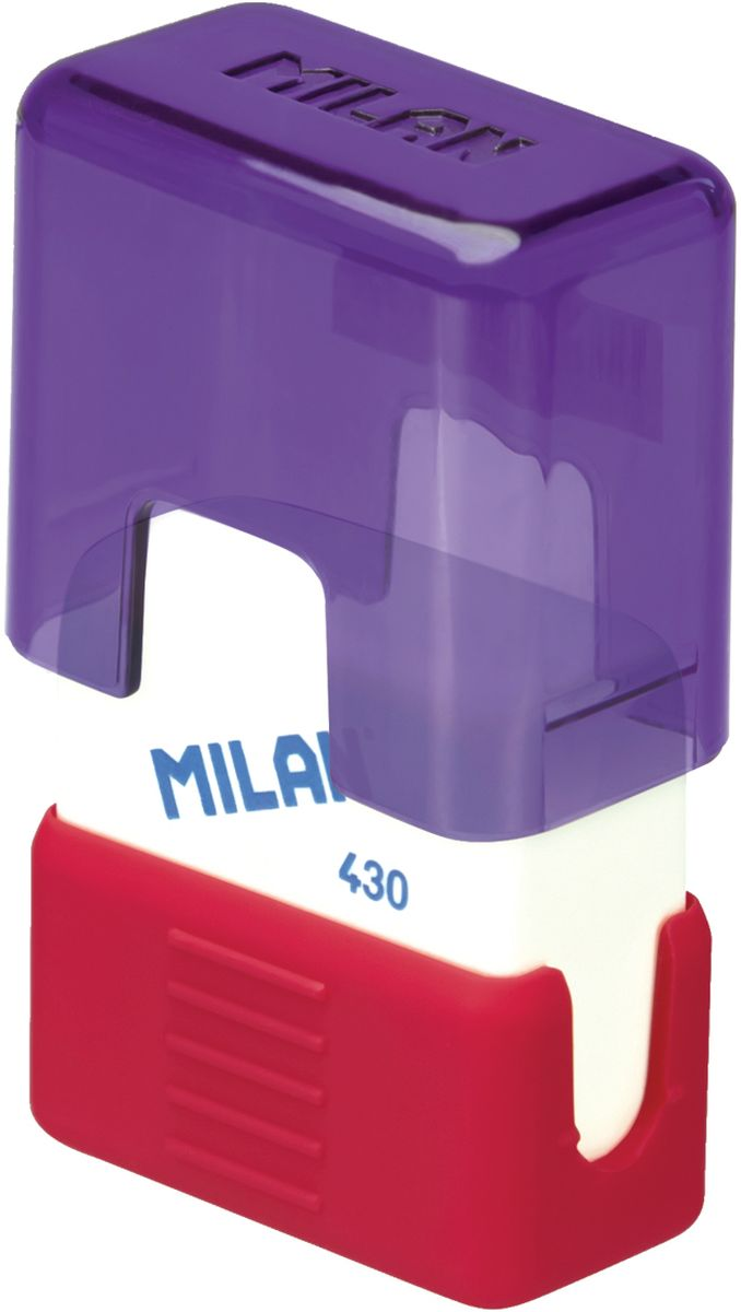 Milan Ластик School 430 прямоугольныйС03Ластик Milan School 430 подходит для удаления штрихов от большинства графитовых карандашей на всех видах поверхностей.Ластик изготовлен из мягкого синтетического каучука. С пластиковым держателем в эргономичном компактном корпусе.