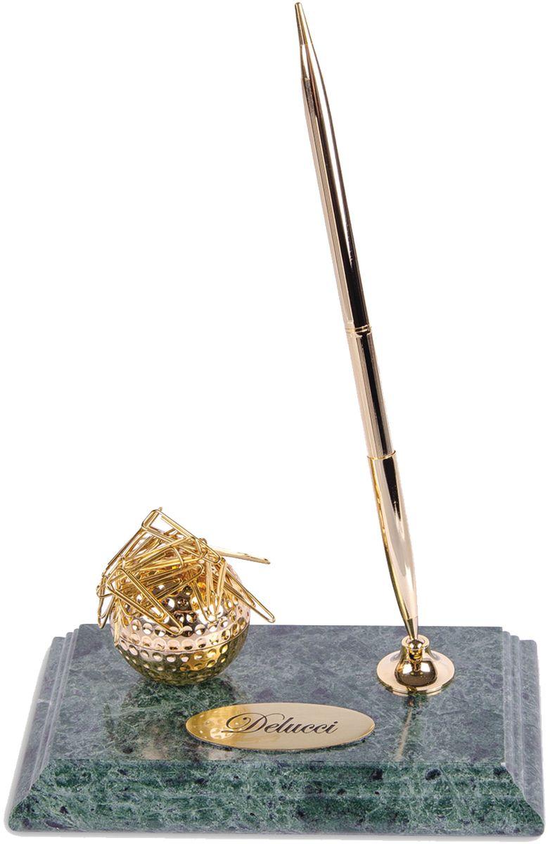 Delucci Подставка для канцелярских принадлежностей цвет зеленый мраморMBm_00001Оригинально выполненная подставка Delucci из мрамора сохранит ваши канцелярские принадлежности, и они всегда будут под рукой. Подставка оснащена шариковой ручкой с держателем, а также магнитным диспенсером для скрепок в виде мяча для гольфа. Цвет чернил ручки синий.Благодаря эксклюзивному дизайну, подставка оформит ваш рабочий стол, а также станет практичным сувениром для друзей и коллег.