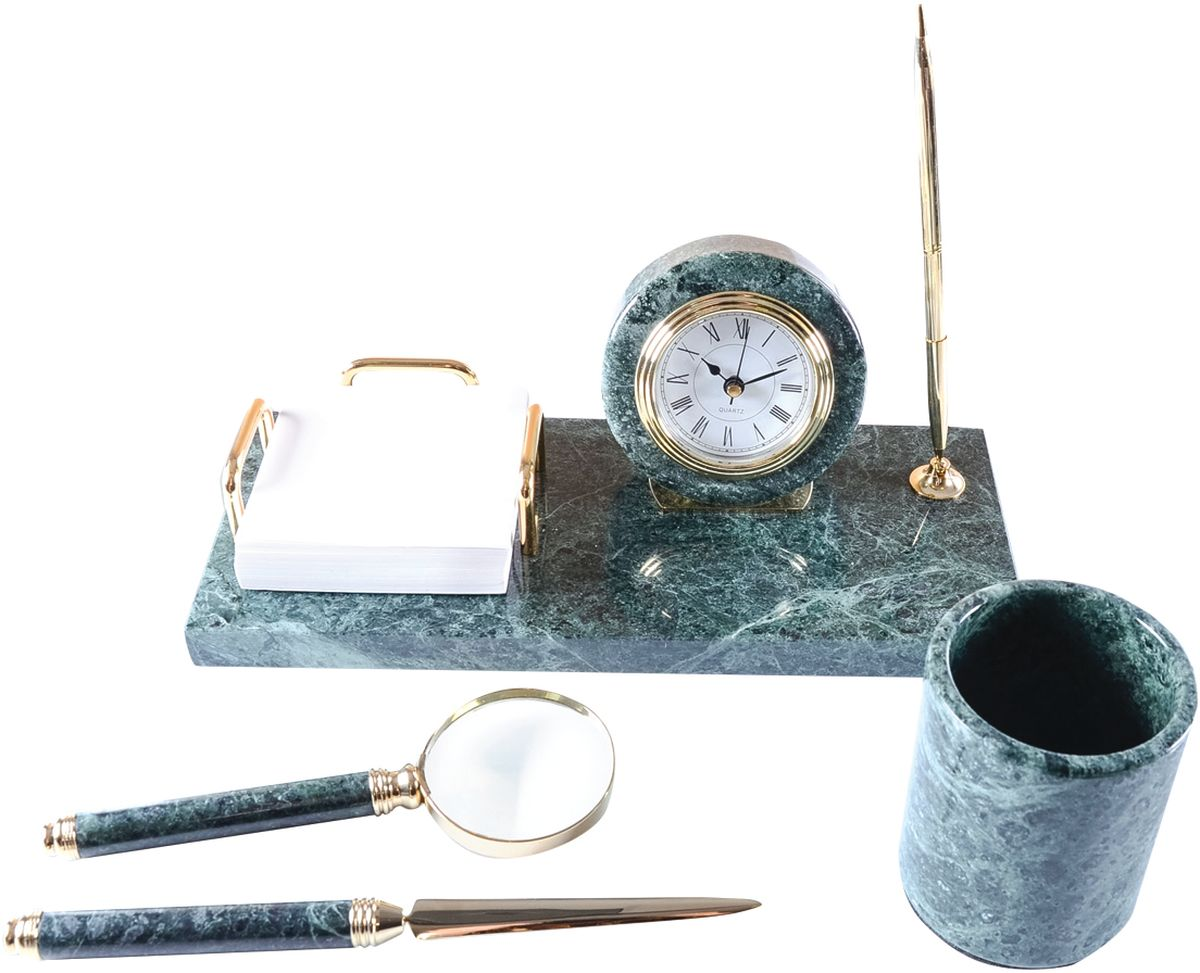 Delucci Канцелярский набор 4 предмета цвет зеленый мрамор -  Органайзеры, настольные наборы