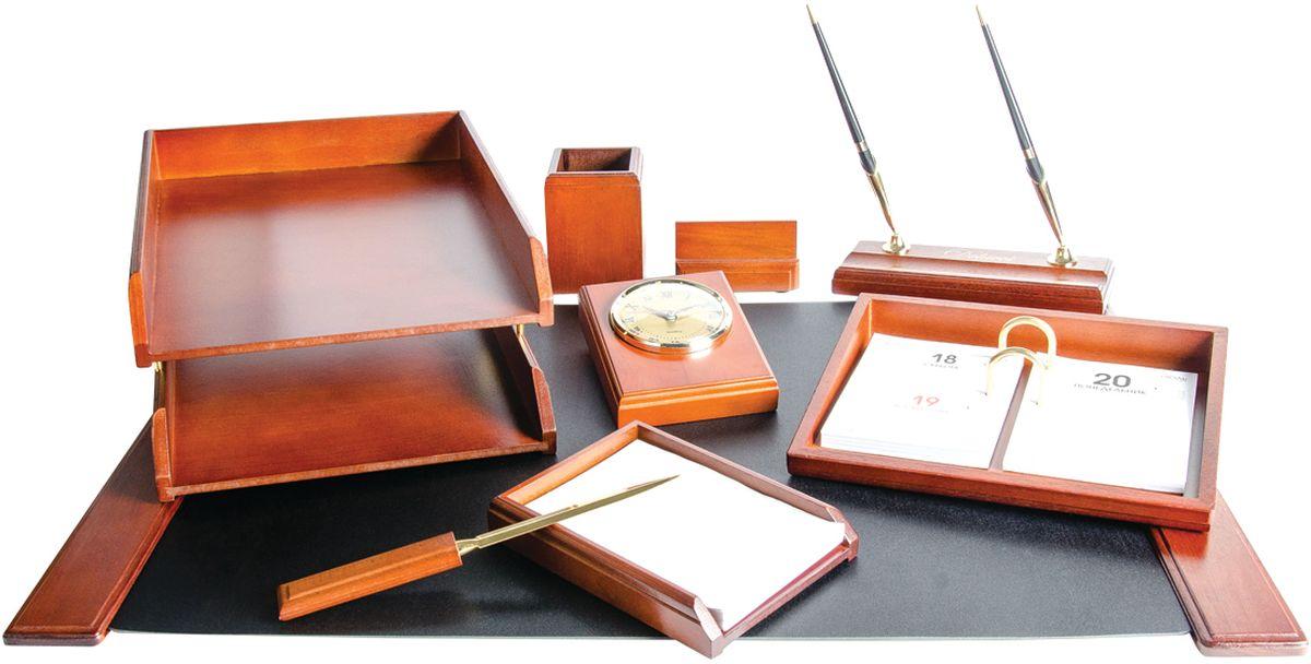 Delucci Канцелярский набор 9 предметов цвет темно-корчиневый орех MBn_19203 -  Органайзеры, настольные наборы