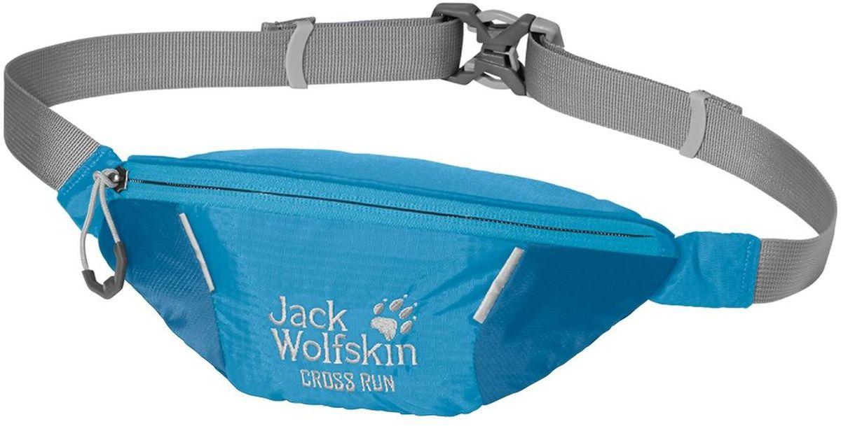 Сумка поясная Jack Wolfskin Cross Run, цвет: голубой. 2002412-165195940-905Маленькая поясная сумка для занятий спортом оснащена одним отделением на молнии. Регулируется в объеме при помощи ремешка с фастексом.