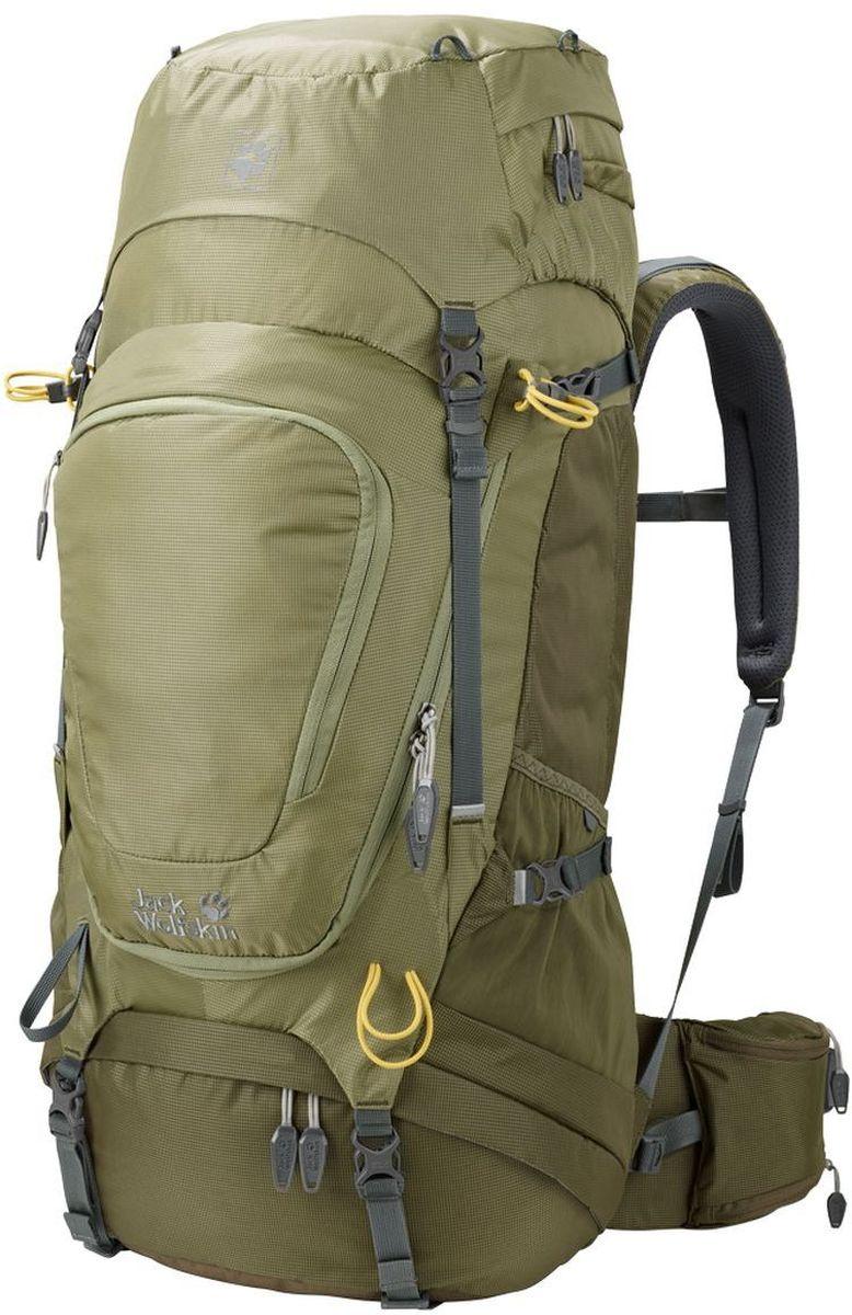 Рюкзак туристический Jack Wolfskin  Highland Trail Xt 50 , цвет: хаки. 2003022-4288 - Туристические рюкзаки