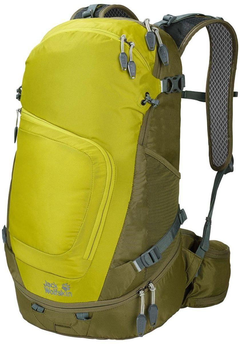 Рюкзак туристический Jack Wolfskin Crosser 26 Pack, цвет: лимонный, хаки. 2004951-424067742Универсальность для ежедневных приключений на природе, рюкзак сочетает практичные детали туристических и офисных рюкзаков и определенно подходит для обеих сфер применения.Модель многофункциональна, даже в походе ваш планшетный компьютер и все детали оснащения всегда будут под рукой. К деталям отделки относятся и отдельные крепления для трекинговых палок, светодиодного фонарика, а также отражатели и чехол от дождя.Также в рюкзаке можно безопасно переносить ноутбук, бутылку для воды или планшетный компьютер. Упаковывать рюкзак легко благодаряустойчивому дну. В переднем кармане есть органайзер.