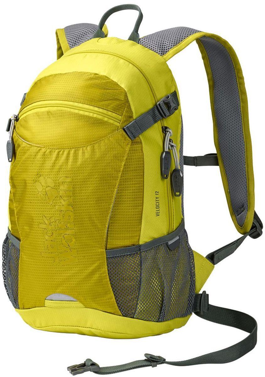 Рюкзак Jack Wolfskin Velocity 12, цвет: лимонный. 2004961-4240INT-06501Качественный рюкзак, изготовленный из прочных материалов, и способный надежно сохранить все вещи от воздействия внешней среды. Предназначенный для туризма, он обладает одним внутренним отделом и карманом для органайзера. Особая система креплений дает гарантию плотного прилегания изделия к спине. Мягкая подушка в задней части не создает дискомфорта для мышц, а удобные лямки регулируются по высоте и не натирают плечи. Специальный вентиляционный канал обеспечивает свободный доступ воздуха к кожным покровам, что не создает предпосылок для перегрева тела в процессе похода. Один передний центральный карман и два боковых дополнительно вмещают в себя массу нужных для похода предметов. Изделие предусматривает крепление светодиодного фонаря, крепления для шлема, насоса, питьевой системы. При помощи компрессионного ремня рюкзак Wolfskin легко сжимается, уменьшаясь в объеме. Для защиты от дождя имеется прочный чехол.