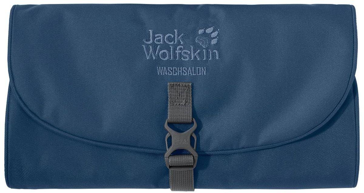 Нессесер Jack Wolfskin Waschsalon, цвет: синий. 86130-1588101225Несессер от Jack Wolfskin идеально подходит для путешествий и поездок выходного дня. Модель выполнена из плотного текстиля. Модель застегивается на клапан с фастексом. Два внутренних кармана на молнии, два кармана на липучке, два кармана без застежки, съемное зеркальце на липучке, крючок для подвешивания.