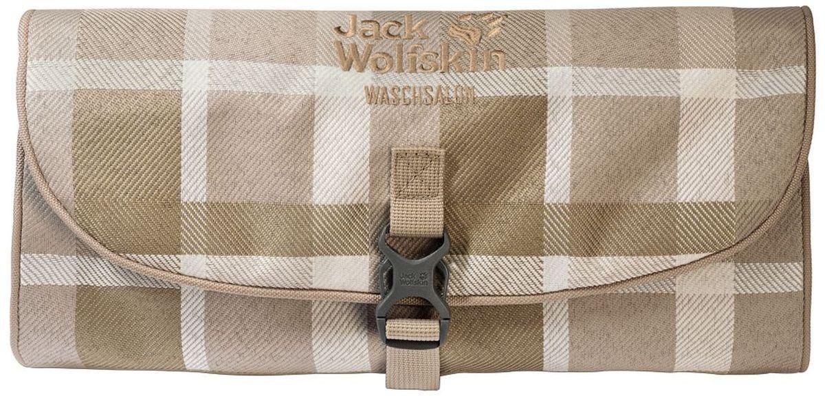 Нессесер Jack Wolfskin Waschsalon, цвет: бежевый. 86130-7951C619N-4930Несессер от Jack Wolfskin идеально подходит для путешествий и поездок выходного дня. Модель выполнена из плотного текстиля. Модель застегивается на клапан с фастексом. Два внутренних кармана на молнии, два кармана на липучке, два кармана без застежки, съемное зеркальце на липучке, крючок для подвешивания.
