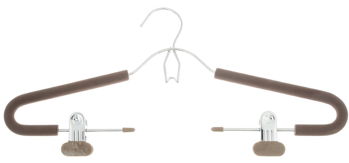 Вешалка для костюма Attribute Hanger Eva, с клипсами, цвет: кофейный, длина 42 см41619Вешалка для костюма Attribute Hanger Eva выполнена из металла, обтянутого поролоном. Зажимы имеют специальные накладки, чтобы не повредить ткань. Вешалка оснащена дополнительным металлическим крючком и клипсами.Длина вешалки: 42 см.
