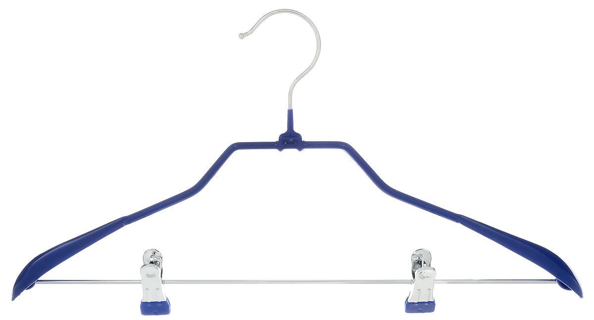 Вешалка для костюма Attribute Hanger Home, с клипсами, цвет: синий, длина 45 см25051 7_зеленыйВешалка для костюма Attribute Hanger Home выполнена из металла с антискользящим покрытием из ПВХ. Зажимы для брюк имеют специальные накладки, чтобы не повредить ткань. Длина вешалки: 45 см.