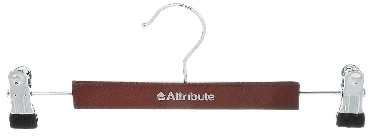 Вешалка для брюк Attribute Hanger Redwood, с клипсами, цвет: темно-коричневый, длина 30 смRG-D31SВешалка Attribute Hanger Classic изготовлена из металла и дерева, снабжена клипсами для брюк. Клипсы имеют специальные накладки из ПВХ, чтобы не повредить ткань. Вешалка - это незаменимая вещь для того, чтобы ваша одежда всегда оставалась в хорошем состоянии.Длина вешалки: 30 см.