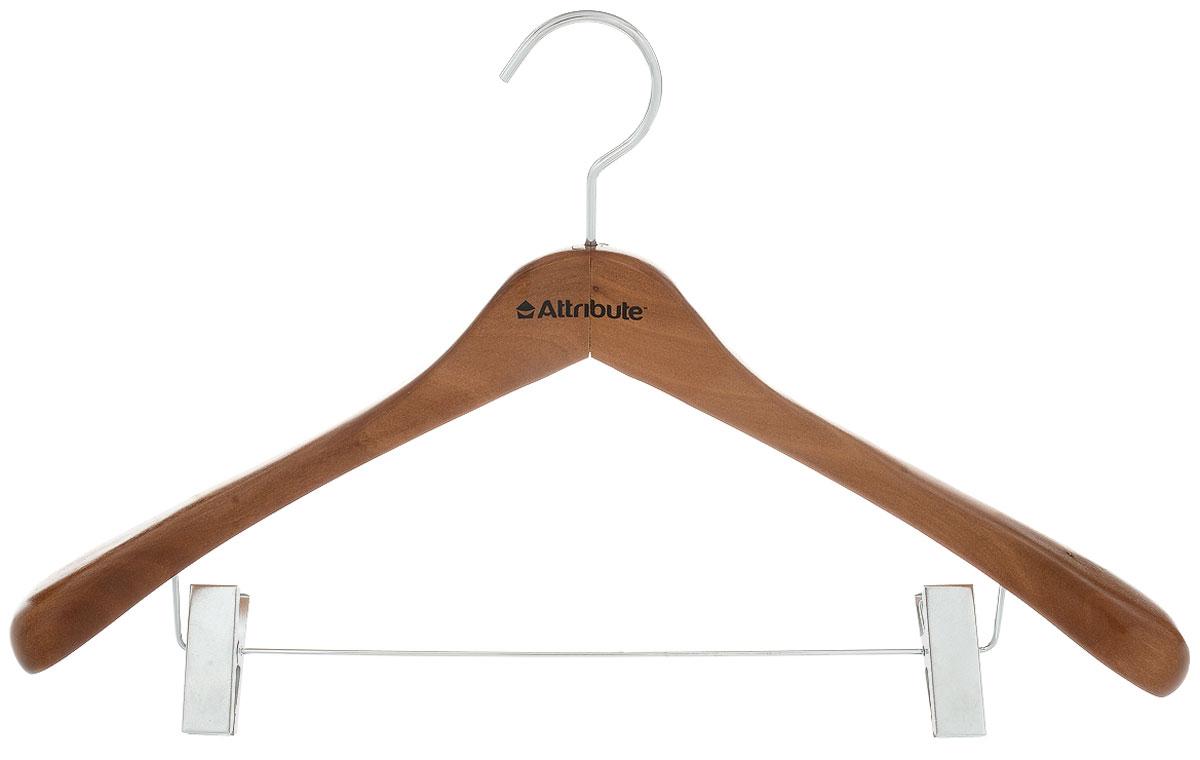 Вешалка для верхней одежды Attribute Hanger, с клипсами, цвет: коричневый, длина 46,5 смAHO561Вешалка Attribute Hanger изготовлена из дерева и металла, снабжена клипсами. Клипсы имеют специальные пластиковые накладки, чтобы не повредить ткань. Вешалка - это незаменимый аксессуар для того, чтобы ваша одежда всегда оставалась в хорошем состоянии. Длина вешалки: 46,5 см.