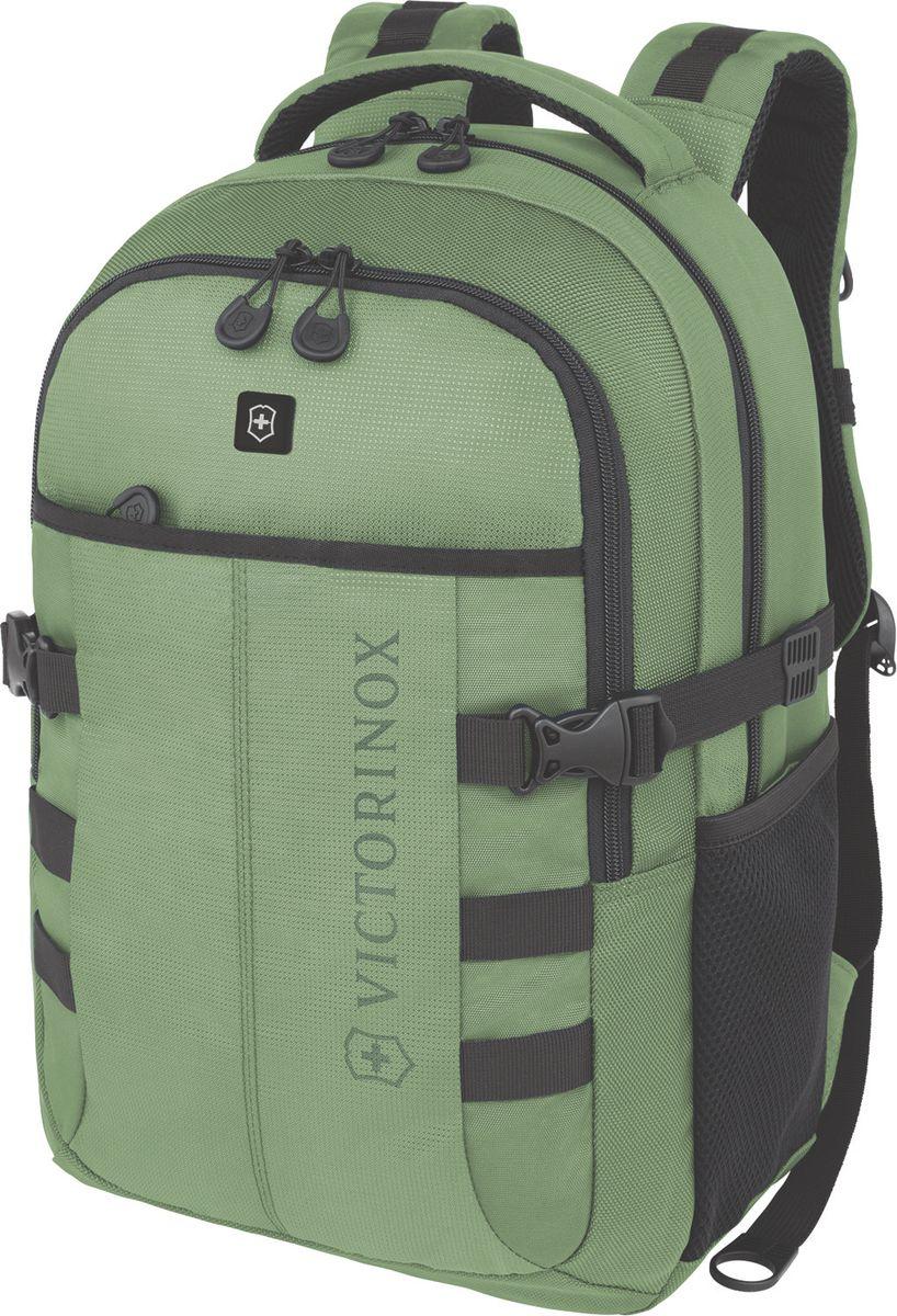 Рюкзак городской Victorinox VX Sport Cadet, цвет: зеленый, 20 л + ПОДАРОК: нож-брелок EscortГризлиКоллекция VX Sport сочетает в себе культовый дизайн и прочную конструкцию.Основанные на многогранной функциональности,которая присуща оригинальному швейцарскому армейскому ножу,рюкзаки этой коллекции обеспечивают защиту современным технологическим устройствам и многофункциональную организацию вещей таким образом,что вы будете готовы к любой ситуации. VICTORINOXарт. 31105006РЮКЗАК ДЛЯ НОУТБУКА ДИАГОНАЛЬЮ 16 / 41 СМ С КАРМАНОМ ДЛЯ ПЛАНШЕТА / ЭЛЕКТРОННОЙ КНИГИ33x18x46 см1 кг20 лХАРАКТЕРИСТИКИ И СВОЙСТВА• Мягкое отделение для ноутбука диагональю 16 (41см) с гладкой, устойчивой к механическим повреждениям подкладкой• Мягкий карман для портативного электронного устройства диагональю 10 (25 см) с гладкой, устойчивой к механическим повреждениям подкладкой• Внешняя организационная секция включает в себя карман на молнии по всей длине, карман для хранения электроники, карман для хранения периферийных устройств, сетчатый карман для документов, удостоверяющих личность, кармашек для ручки и карабин для ключей• Фронтальная сторона включает в себя внешний карман на молнии и многофункциональные боковые сетчатые карманы, идеально подходящие для бутылки с водой или зонтика• Мягкая задняя стенка и мягкие регулируемые плечевые ремни для максимального комфорта• Задний рукав для продевания через телескопическую ручку чемоданов позволяет одновременно перемещать два и более предметов багажа