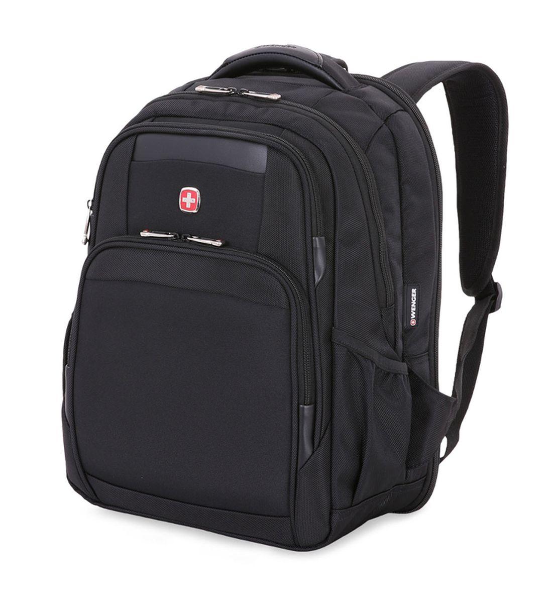 Рюкзак Wenger ScanSmart , цвет: черный. 6392202415Z90 blackРюкзак Wenger выполнен из высококачественного плотного нейлона. На лицевой стороне расположено два небольших кармана на молниях для мелочей.Изделие имеет боковые карманы для бутылок. Рюкзак имеет боковые карманы для бутылок и рукав для крепления к чемодану. Рюкзак оснащен ручкой для подвешивания и удобными мягкими лямками, длину которых можно изменять с помощью пряжек. Рельефная спинка с системой циркуляции воздуха гарантирует поддержку спины, а встроенная петля обеспечивает удобное крепление рюкзака с другими сумками. Рюкзак имеет два вместительных отделений и застегивается с помощью молнии. Внутри расположено отделение для ноутбука с мягкими стенками,отделение для планшета иорганайзер для мелких предметов, который вмещает в себя ключницу и многочисленные кармашки для ручек, мобильного телефона, документов и карты памяти.