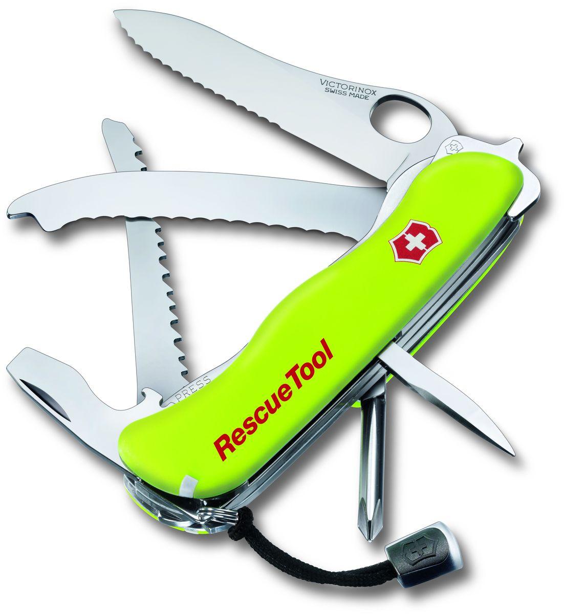 Нож перочинный Victorinox Rescue Tool, 14 функций, с чехлом, длина 11,1 см0.8623.MWNЛезвие перочинного складного ножа Victorinox Rescue Tool изготовлено из высококачественной нержавеющей стали. Ручка, выполненная из прочного пластика, обеспечивает надежный и удобный хват.Хорошее качество, надежный долговечный материал и эргономичная рукоятка - что может быть удобнее на природе или на пикнике!Функции ножа:- Большое фиксирующееся лезвие, открывающееся одной рукой.- Крестовая отвертка.- Консервный нож с малой отверткой.- Открывалка для бутылок с отверткой.- Инструмент для снятия изоляции.- Стропорез. - Шило, кернер.- Кольцо для ключей.- Пинцет.- Зубочистка.- Пила по дереву.В набор входит текстильный чехол для ножа.