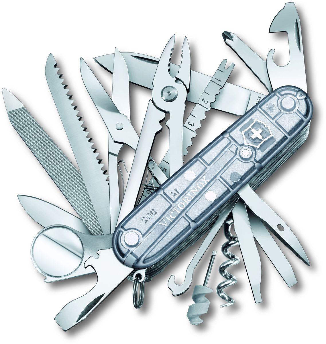 Нож перочинный Victorinox Swiss Champ, 33 функции, цвет: прозрачный, длина клинка 68 мм1.6794.T7Маленький красный карманный нож с эмблемой креста на щите на рукояти — самый узнаваемый символ компании Victorinox.В 1897 году основатель компани Карл Эльзенер разработал первый «Швейцарский армейский нож».Более 130 лет компания Victorinox разрабатывает продукты,которые не просто уникальны по дизайну и качеству,но и способны стать верными спутниками по жизни как для великих,так и для небольших приключений. VICTORINOXАрт. 1.6794.T7Швейцарский армейский нож SWISSCHAMP имеет 33 функции:1. Большое лезвие2. Малое лезвие3. Штопор4. Консервный нож с:5. – Малой отвёрткой6. Открывалка для бутылок с:7. – Отвёрткой8. – Инструментом для снятия изоляции9. Шило, кернер10. Кольцо для ключей11. Пинцет12. Зубочистка13. Ножницы14. Многофункциональный крючок15. Пила по дереву16. Инструмент для чистки рыбы с:17. – Инструментом для извлечения рыболовного крючка18. – Линейкой (сантиметры)19. – Линейкой (дюймы)20. Пилка для ногтей с:21. – Напильником по металлу22. – Инструментом по уходу за ногтями23. – Пилой по металлу24. Тонкая отвёртка25. Стамеска26. Плоскогубцы с:27. – Кусачками для проводов28. – Инструментом для обжима проводов29. Крестовая отвёртка30. Лупа31. Шариковая ручка32. Булавка из нержавеющей стали33. Мини-отвёрткаЦвет рукояти: полупрозрачный серебристыйРекомендуемые чехлы: 4.0545.3, 4.0481.1, 4.0481.3, 4.0521.1, 4.0521.3, 4.0521.31, 4.0521.32, 4.0740Рекомендуемые аксессуары:Инструмент для заточки: 4.3311, 4.3323, 4.0567.32Держатели на ремень: 4.1853, 4.1858, 4.1859, 4.1860Цепочки длинные: 4.1813, 4.1814, 4.1815Цепочки короткие: 4.1820Комбинированные цепочки: 4.1854Шнурок с карабином: 4.1879Масло смазочное: 4.3301