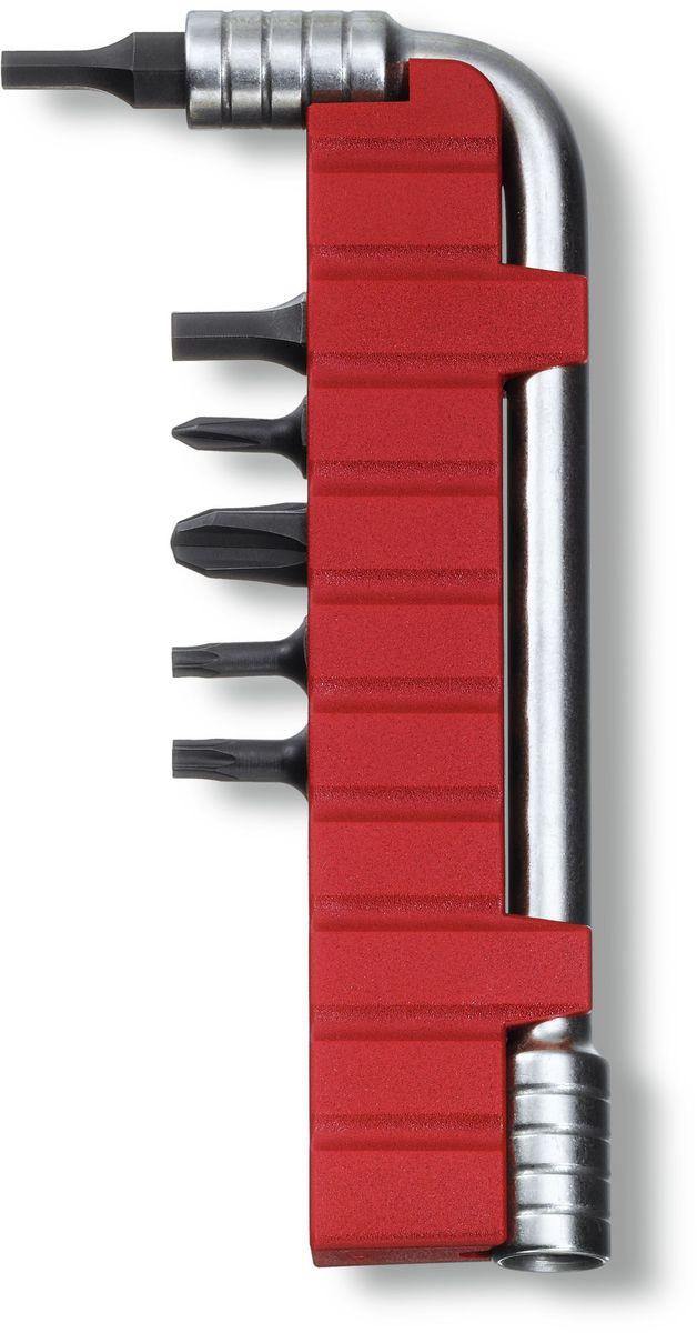 Ключ монтажный Victorinox, с 6 насадками, цвет: серый металлик67742Монтажный ключ VICTORINOX с набором из 6 насадок для мультитулов: шестигранник 3, шестигранник 4, крестовая отвёртка 0, крестовая отвёртка 3, насадка Torx 10, насадка Torx 5, нержавеющая сталь