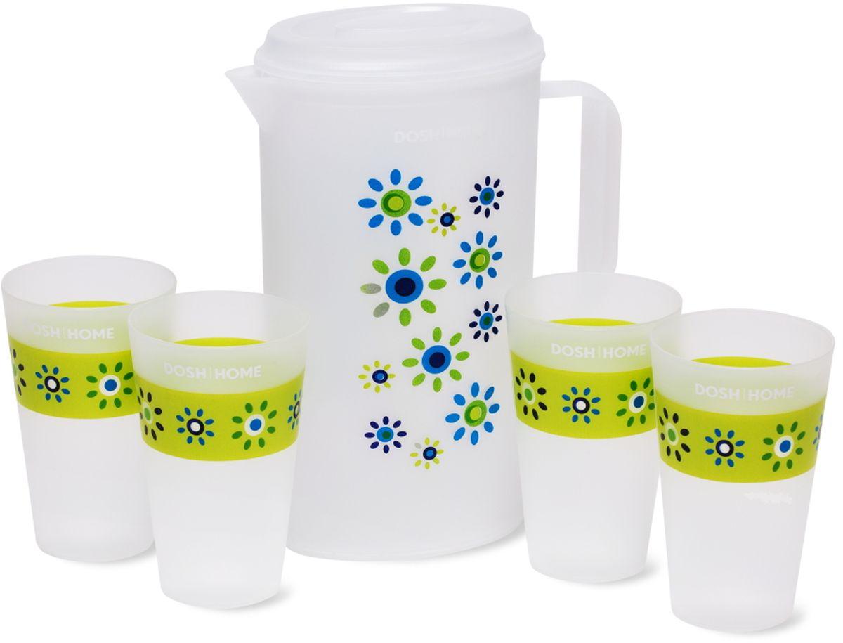 Набор Dosh l Home GRUS, кувшин и чашки, 5 предметов747421Набор Dosh l Home GRUS, состоящий из кувшина и 4 чашек, предназначен для приготовления и сервировки прохладительных напитков. Набор выполнен из превосходного пластика. Набор имеет привлекательный внешний вид. Кувшин дополнен удобной рукояткой и крышкой для защиты содержимого от выливания.Можно мыть в посудомоечной машине. Используйте бережные программы для мытья посуды.Внимание: Температура жидкости, которую наливают в кувшин и чашки не должна превышать 60 °C.