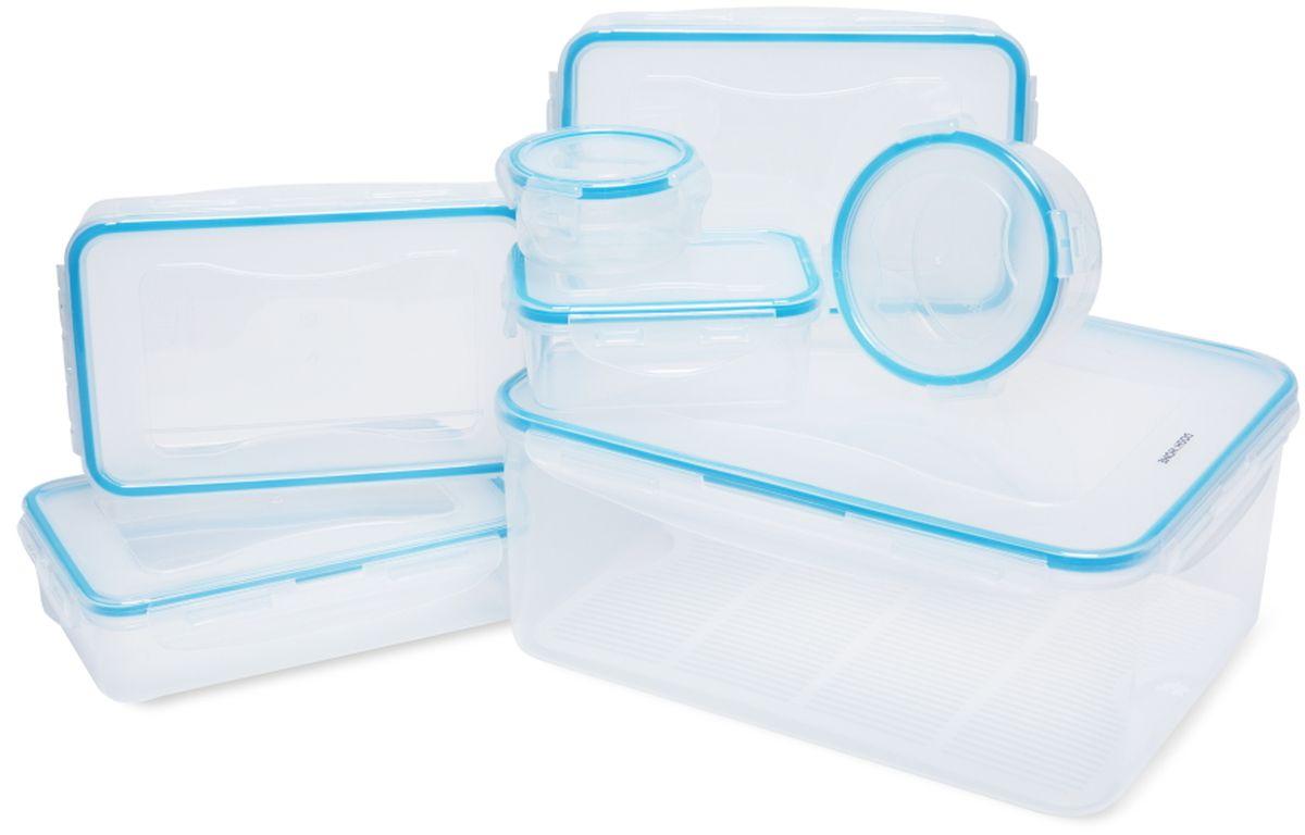 Набор контейнеров Dosh l Home SAGITTA, 14 шт600100Набор контейнеров Dosh l Home SAGITTA отлично подходит для хранения и переноса продуктов питания. С герметичной и водонепроницаемой крышкой - пища дольше остается свежей, сохраняет аромат и не вытекает при переносе. Контейнеры изготовлены из прочного пластика, с высококачественным силиконовым уплотнением. Устойчивость от до -18 +110 ° C, подходит для холодильника, морозильника и микроволновой печи, можно мыть в посудомоечной машине.