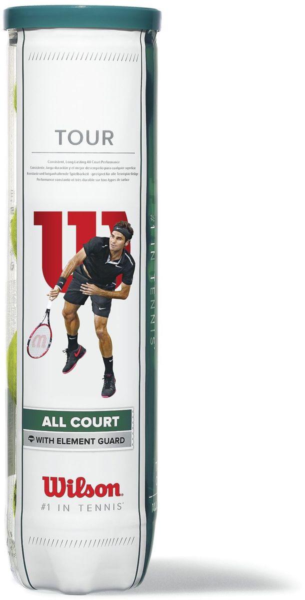 Набор мячей Wilson Tour All Court 4 BallTB-02Теннисные мячи из Премиальной линейки Wilson, обладающие повышенной износостойкостью и передающие идеальные ощущения игры. Материал покрышки - фетр, клееный. Тип поверхности мяча: универсальные.