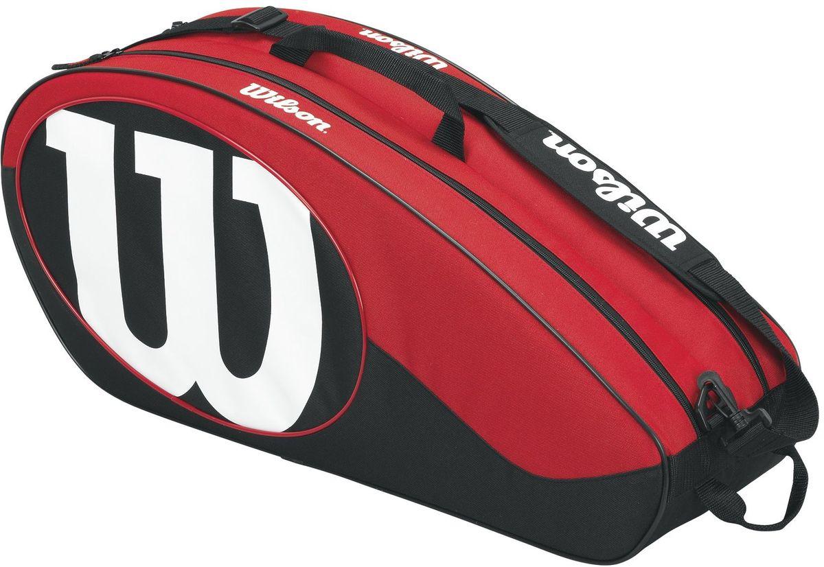 Сумка для ракетки Wilson Match II 6Pk, цвет: черный, красныйWP 10702Чехол с богатым функционалом для серьезных игроков в теннис, предпочитающих серию Match II. Два удобных отделения для комфортного хранение своего теннисного инвентаря.