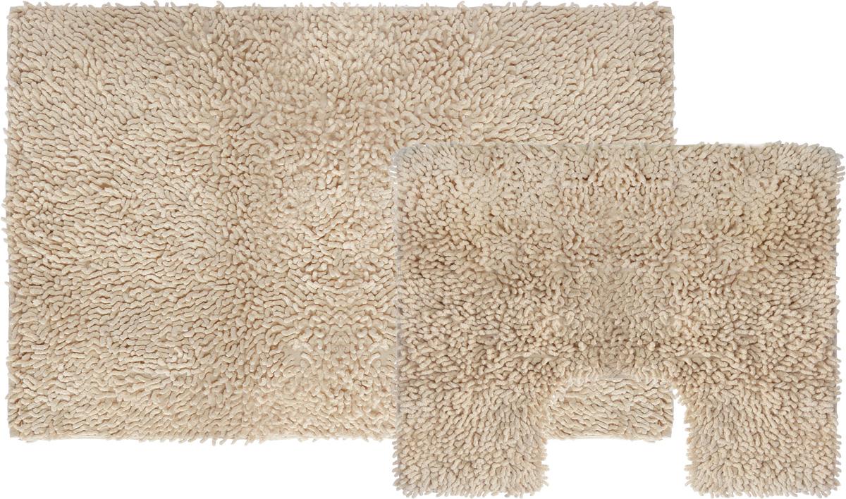 Набор ковриков для ванной Shee Sai International, цвет: бежевый, 60 х 90 см + 60 х 50 см68/5/4Изготовленные из натурального индийского хлопка,легко стираются,мягкие и приятные на ощупь.