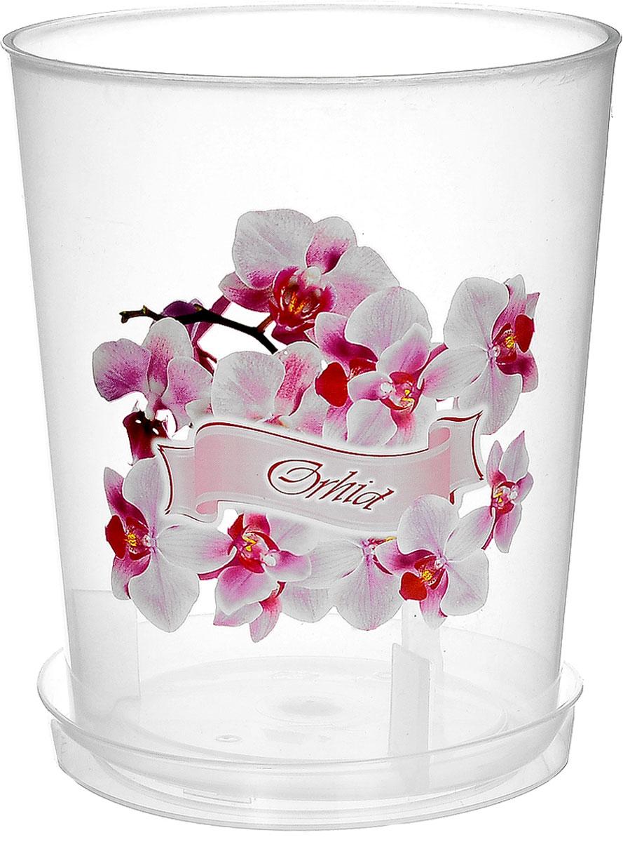 Горшок для орхидей Альтернатива, 1,2 л4840952005359Горшок для орхидей Альтернатива изготовлен из прочного прозрачного пластика. Внешние стенки оформлены изысканным изображением розовых цветков орхидеи и надписью Orkhideya. Горшок оснащен поддоном. Диаметр горшка (по верхнему краю): 12,5 см. Высота горшка: 15 см.