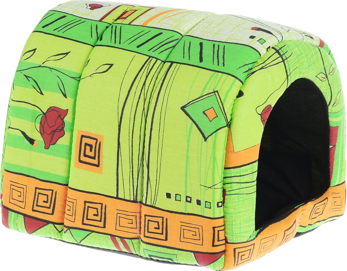 Домик для животных Elite Valley Норка, цвет: светло-зеленый, оранжевый, бордовый, 35 х 28 х 28 см564Домик Elite Valley Норка непременно станет любимым местом отдыха вашего домашнего животного. Домик напоминает по форме норку. Изделие выполнено из бязи с наполнителем из поролона. Такой материал не теряет своей формы долгое время. Внутри имеется мягкая подстилка.В таком ярком и стильном домике вашему любимцу будет мягко и тепло. Он даст вашему питомцу ощущение уюта и уединенности, а также возможность подремать, отдохнуть и просто спрятаться.