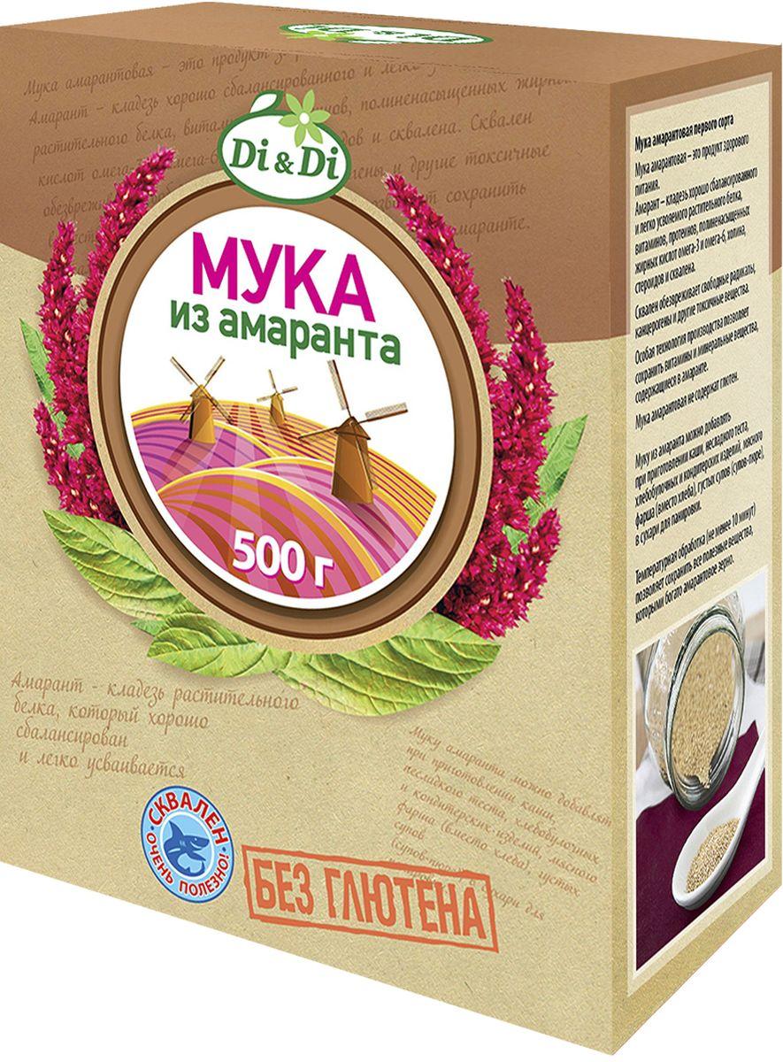 Di&Di Мука амарантовая первого сорта, 500 г24Амарантовая мука обладает высокой пищевой ценностью и уникальным биохимическим составом (в частности, по содержанию незаменимых аминокислот, мощных антиоксидантов и минеральных веществ мука, полученная из зерен амаранта, во много раз превосходит большинство традиционно выращиваемых в России злаковых культур - пшеницу, рис, сою, кукурузу и др.). В зернах амаранта содержится до 16% белка (состоящего более чем на 30% из незаменимых аминокислот), до 15% жиров (50% из которых приходится на долю полиненасыщенной жирной кислоты Омега-6), и около 9-11% пищевых волокон (клетчатки). В составе амарантовых семян также весьма высоко содержание витаминов (Е , А, B1, B2, B4 (холин), С, D), весьма важных для организма человека макро- и микроэлементов (железо, калий, кальций, фосфор, магний, медь и др.), а также других биологически активных веществ, определяющих разнообразные лечебно-профилактические свойства амарантовой муки (сквален, фитостеролы, фосфолипиды и др.).