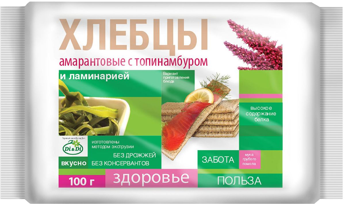 Di&Di хлебцы амарантовые с топинамбуром и ламинарией, 100 г4640000272265Продукт функционального питания. Богат калием, кальцием, магнием, фосфором, железом.