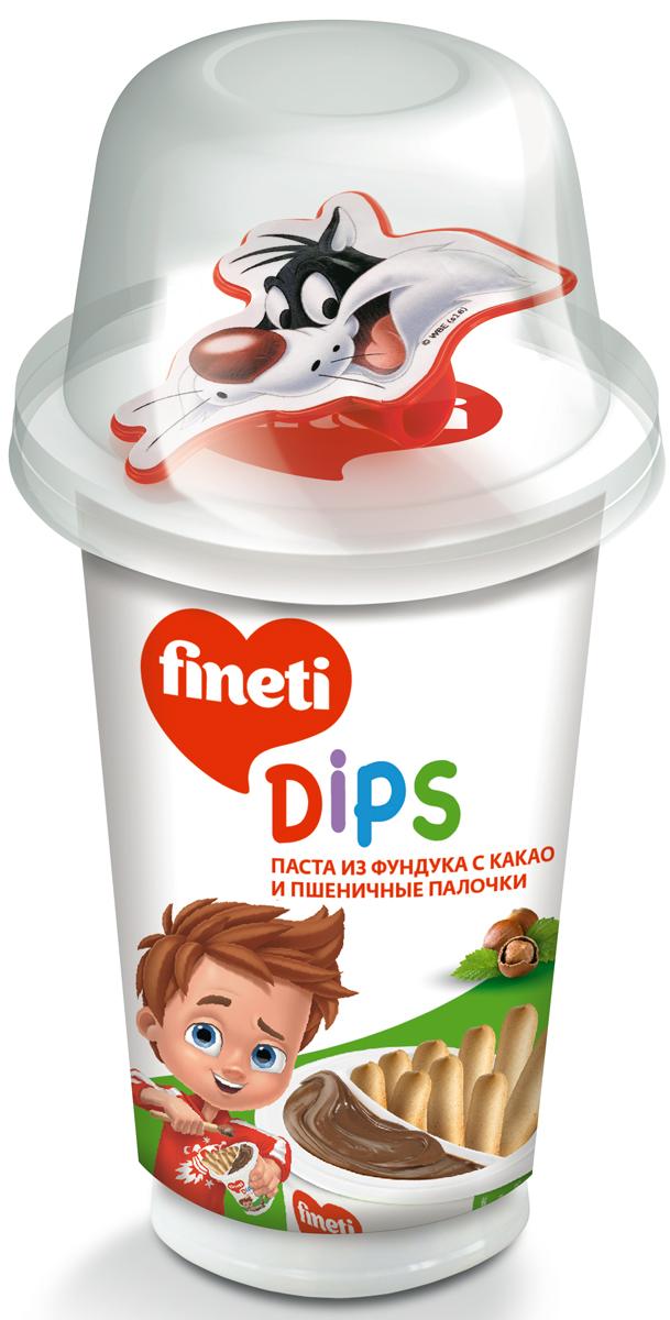 Fineti Dips Паста из фундука с какао и Пшеничные палочки, 45 г0120710Fineti - торговая марка кондитерских изделий компании Chipita. Это продукты с пастой из фундука с какао для детей. Бренд Fineti представлен в 30 странах и предлагает потребителям ассортимент высококачественных и вкусных продуктов. УВАЖАЕМЫЕ КЛИЕНТЫ!Игрушки во вложении поставляются в ассортименте. Поставка осуществляется в зависимости от наличия на складе.