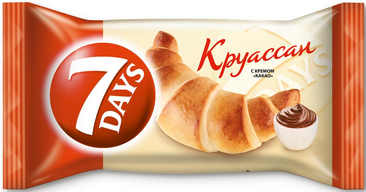 7DAYS Круассан с кремом Какао, 65 г52329Выпеченный для утоления голода круассан 7DAYS - это питательная порция выпечки, наполненная высококачественной кремовой или джемовой начинкой.Круассаны 7DAYS удобно упакованы и готовы к употреблению.