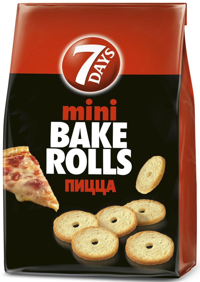 7DAYS Bake Rolls Мини-cухарики Пицца, 80 г0120710Яркий! Богатый! Насыщенный вкус!Хрустящие, дважды выпеченные, тонко нарезанные хлебные ломтики с травами и специями с незабываемым богатым вкусом!