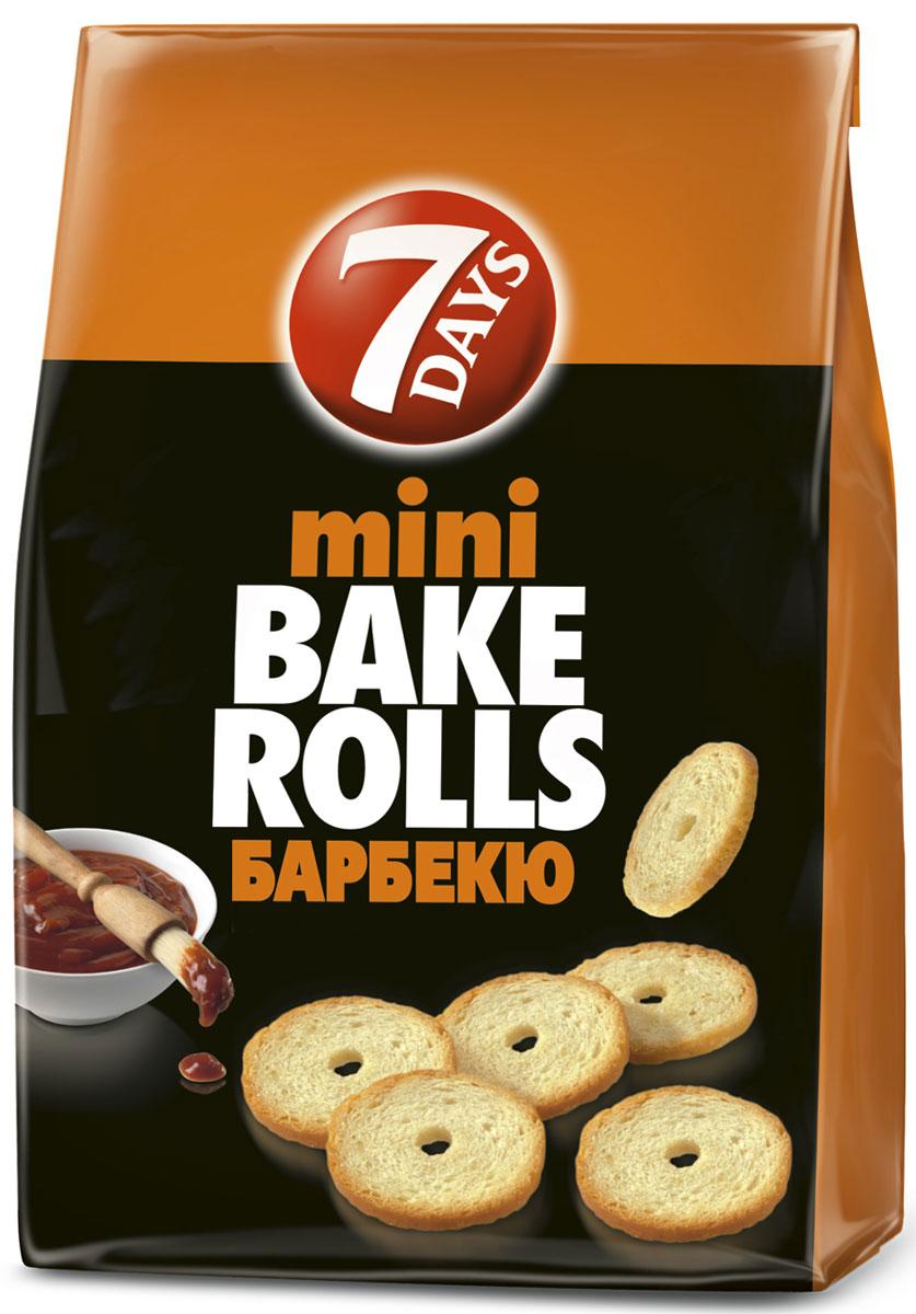7DAYS Bake Rolls Мини-cухарики Барбекю, 80 г0120710Яркий! Богатый! Насыщенный вкус!Хрустящие, дважды выпеченные, тонко нарезанные хлебные ломтики с травами и специями с незабываемым богатым вкусом!