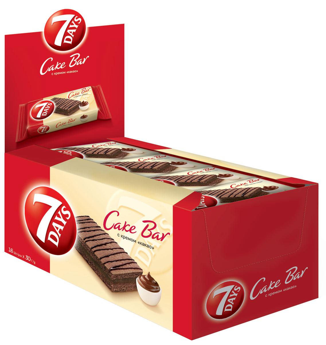 7DAYS Cake Bar Пирожное с кремом Какао, 16 шт по 30 г71500Пирожные 7DAYS Кейк Бар - это индивидуально упакованные бисквитные пирожные, представленные ассортиментом наиболее популярных вкусов. Восхитительный снэк для всей семьи, которым можно насладиться в течение всего дня.