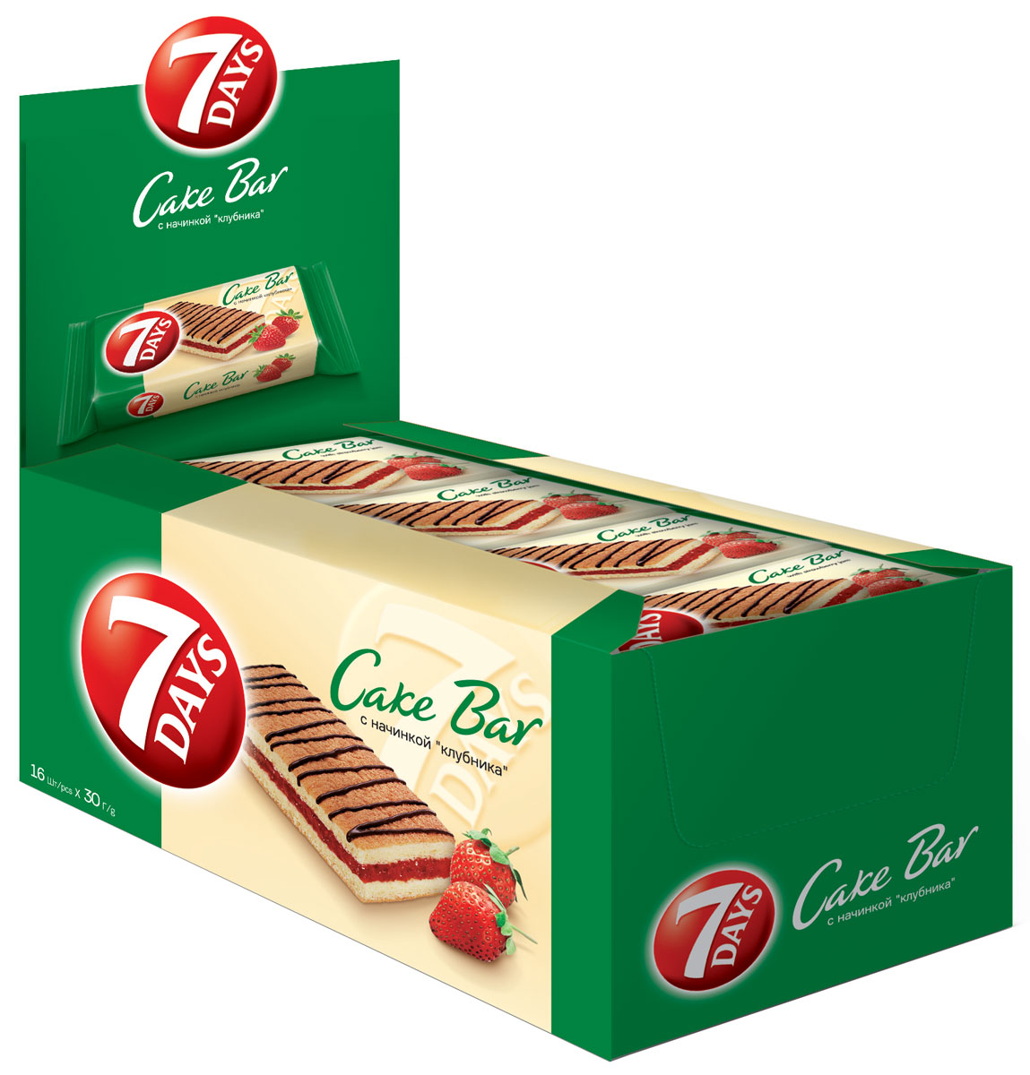 7DAYS Cake Bar Пирожное с начинкой Клубника, 16 шт по 30 г0120710Пирожные 7DAYS Кейк Бар - это индивидуально упакованные бисквитные пирожные, представленные ассортиментом наиболее популярных вкусов. Восхитительный снэк для всей семьи, которым можно насладиться в течение всего дня.